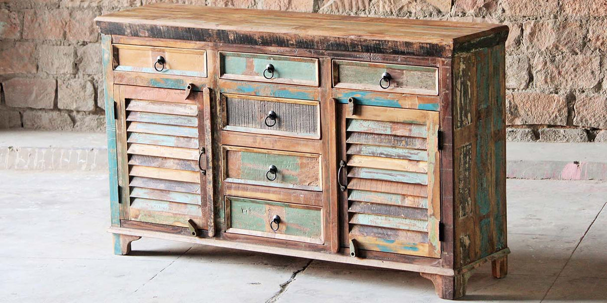 Mary Rose 6 Drawer Reclaimed Wood Sideboard Closed