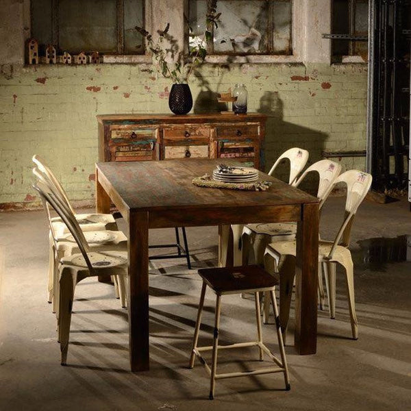 Mary Rose Reclaimed Boat Wood Dining Table with dining chairs in dining room