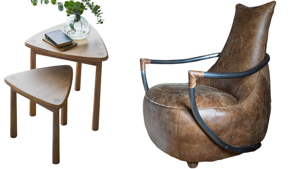 Maverick Leather Armchair and Oak Side Tables