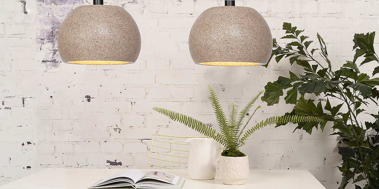 Mila Woodchip Round Pendant Lights above dining table