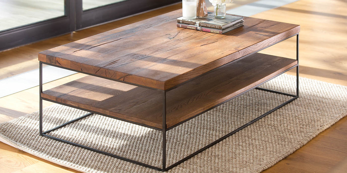 Mitcham Industrial Oak Coffee Table in Living Room