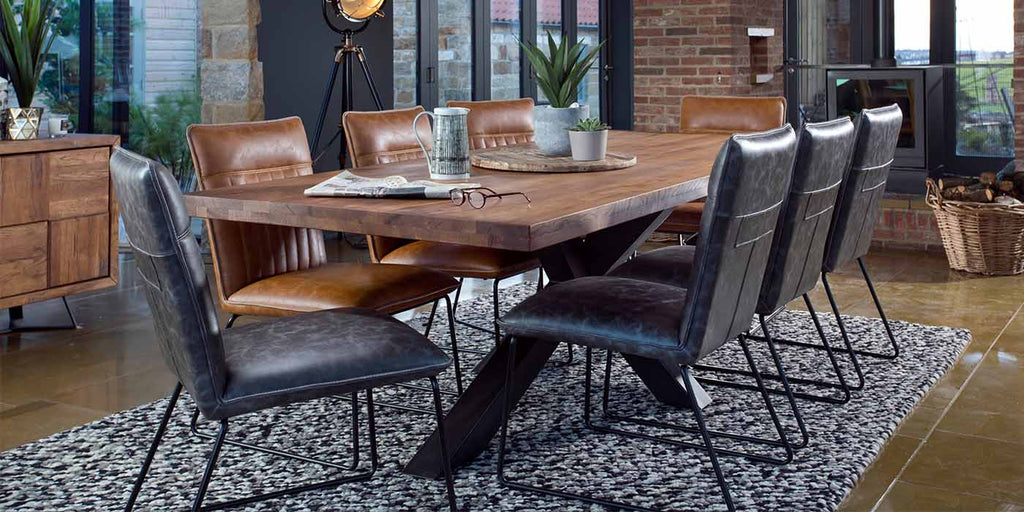 Mitcham Industrial Oak Spider Leg Dining Table and Grey Dining Chairs