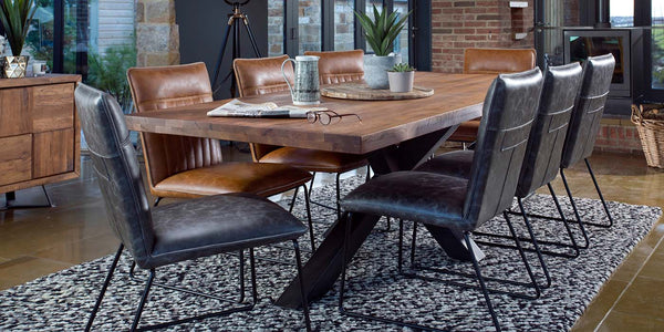 Mitcham Industrial Oak Cross Leg Dining Table