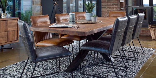 Mitcham Industrial Oak Dining Table with Spider Leg