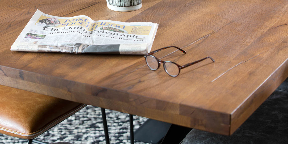 Mitcham Industrial Oak Spider Leg Square Dining Table