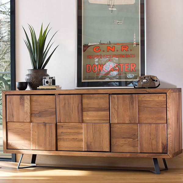 Mitcham Industrial Oak Squared Large Sideboard