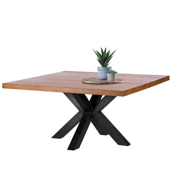 Mitcham Industrial Oak Square Dining Table