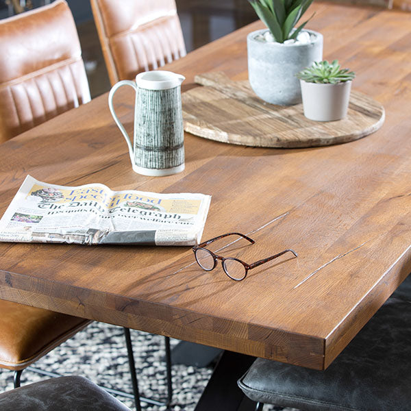 Mitcham Industrial Oak Spider Leg Dining Table Top