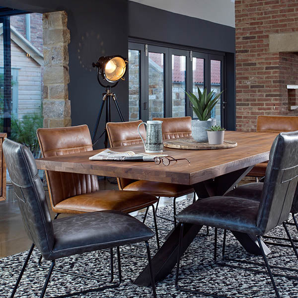 Mitcham Industrial Oak Dining Table and Faux Leather Dining Chairs
