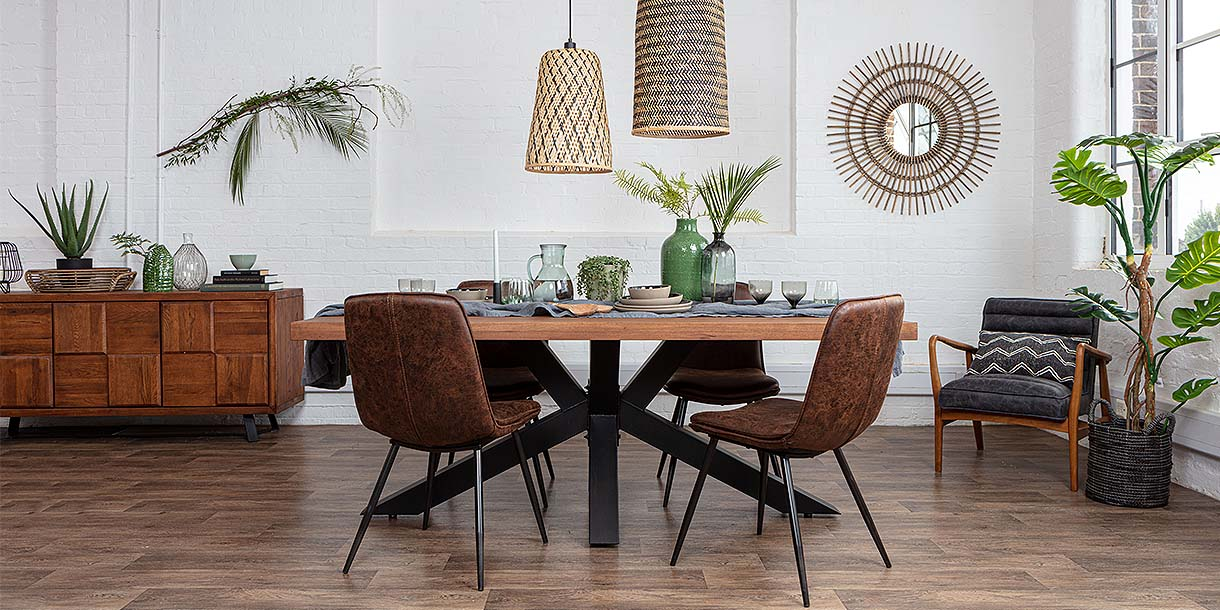 Mitcham Industrial Oak Spider Leg Dining Set with faux leather chairs