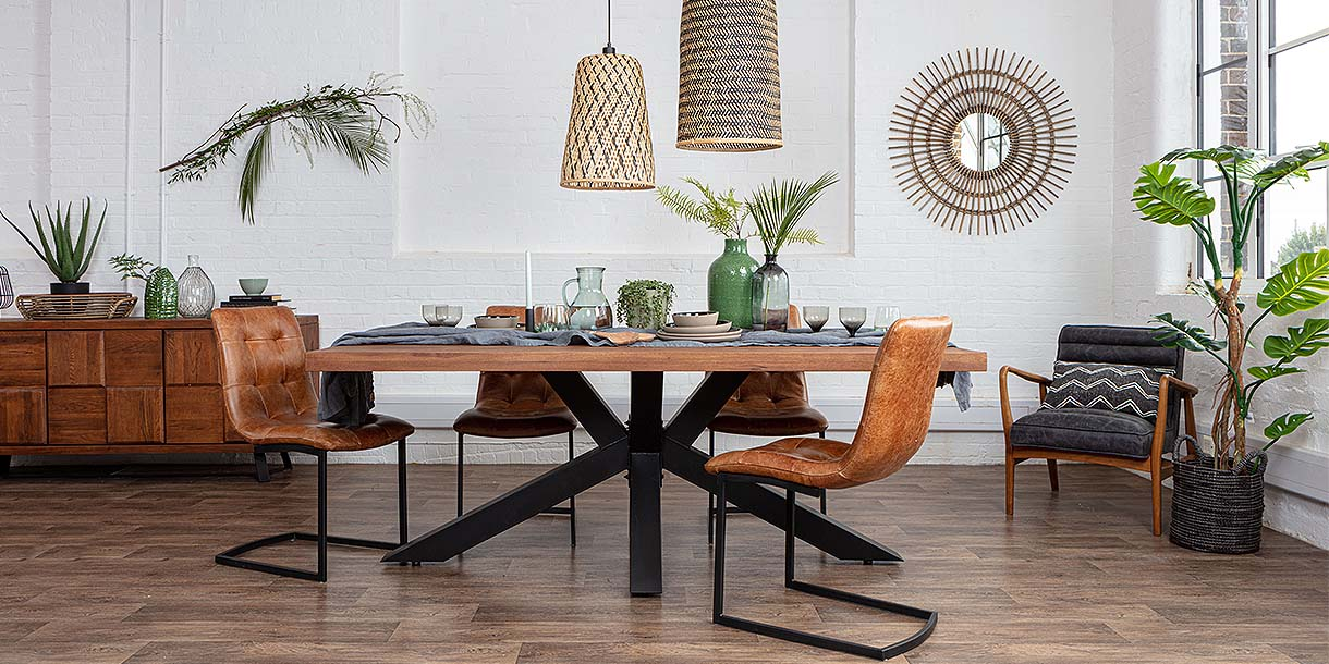 Mitcham Industrial Oak Dining Table and Leather Chairs
