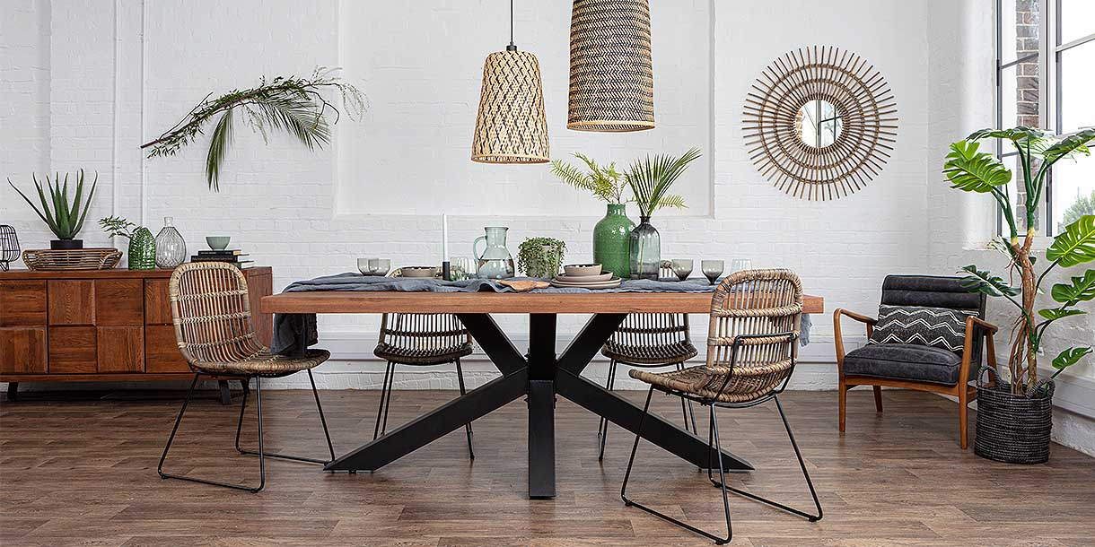 Mitcham Industrial Oak Spider Leg Dining Table and Rattan chairs