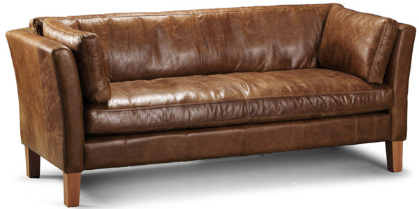 A 3 Seater Leather Sofa on wooden legs