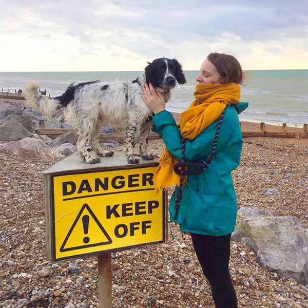 That's So Gemma on the beach with her dog