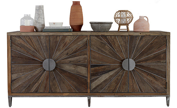 A large sideboard made of reclaimed oak with ceramics and pottery on top
