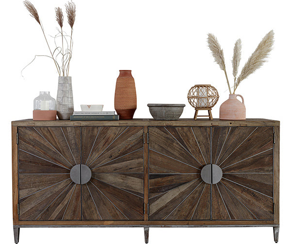 A large geometric sideboard made from reclaimed elm