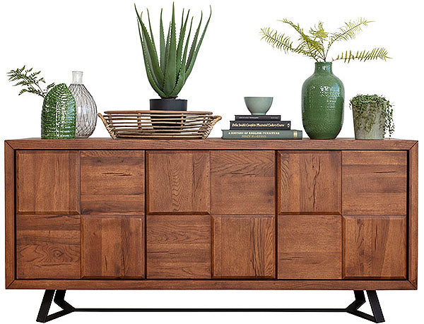 A large squared sideboard made from rustic oak