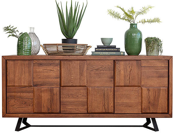 An industrial style Mitcham Large Oak Squared Sideboard