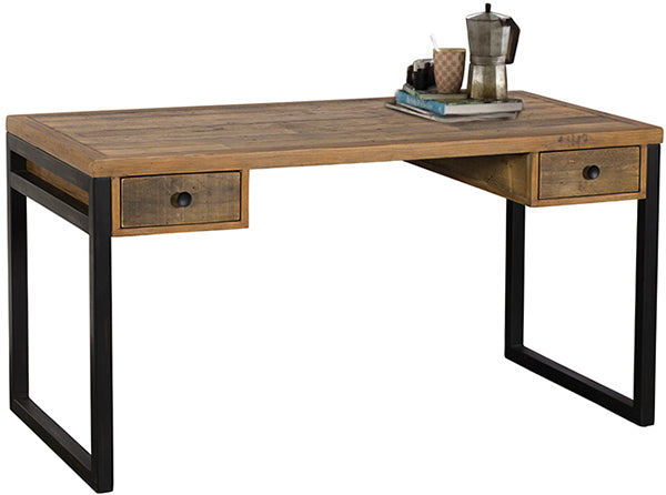 Standford Industrial Reclaimed Wood Desk with books and a cafetiere on top