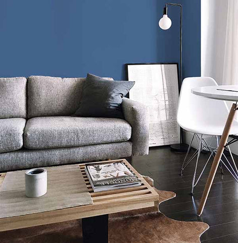 A Scandi style living room with a grey sofa, wooden coffee table and blue wall