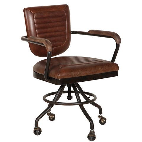 Mustang Brown Leather Office Chair for home office