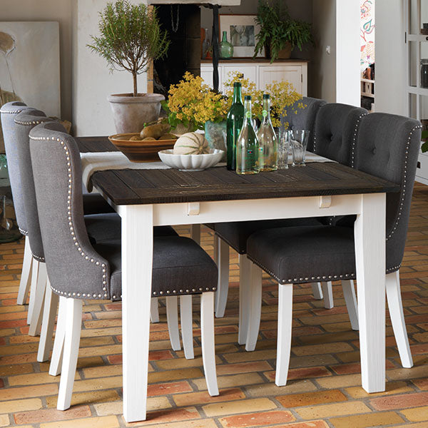 Brook Grey Upholstered Dining Chairs White