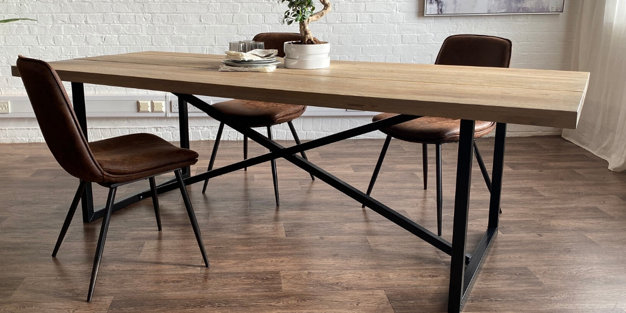 Oak Dining Table with Black Industrial Steel Frame