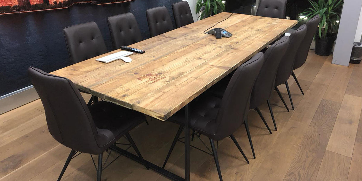 Oldman Raw Steel Industrial Reclaimed Wood Table and Chairs