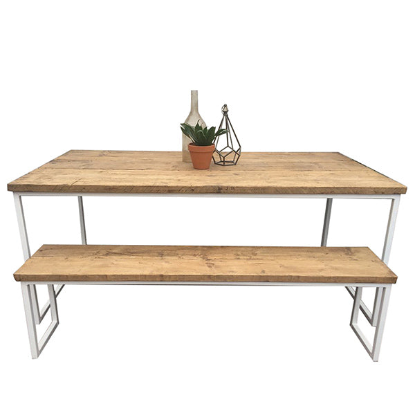 Oldman Industrial Reclaimed Wood Dining Table and Bench