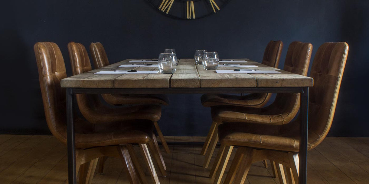 Large Boardroom Table made using Reclaimed wood & Steel