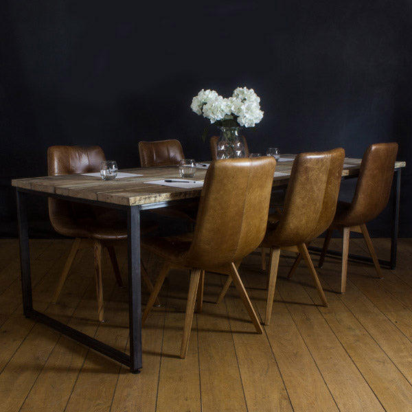 Oldman Industrial Reclaimed Wood Boardroom Table and Chairs