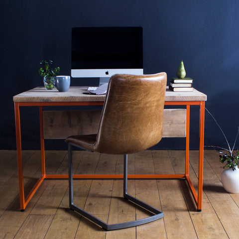 Oldman Orange Industrial Reclaimed Wood Desk with leather desk chair