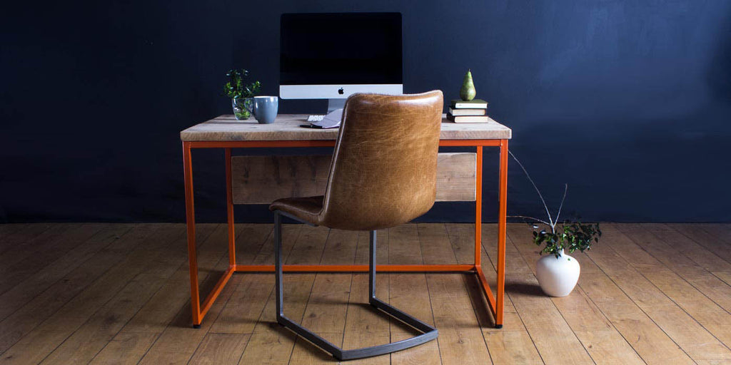 Oldman Orange Industrial Reclaimed Wood Desk and Leather Chair