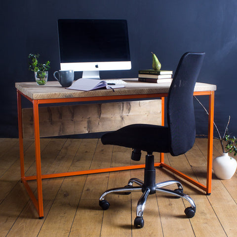 Oldman industrial reclaimed wood orange desk