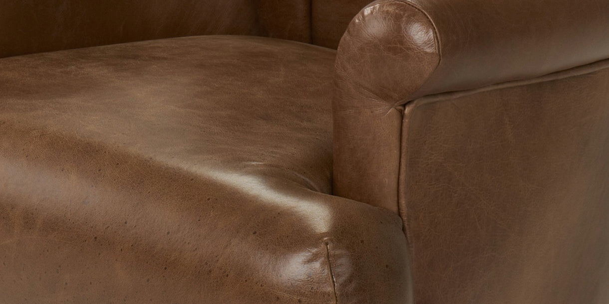 Brown Leather Armchair Close up Seat