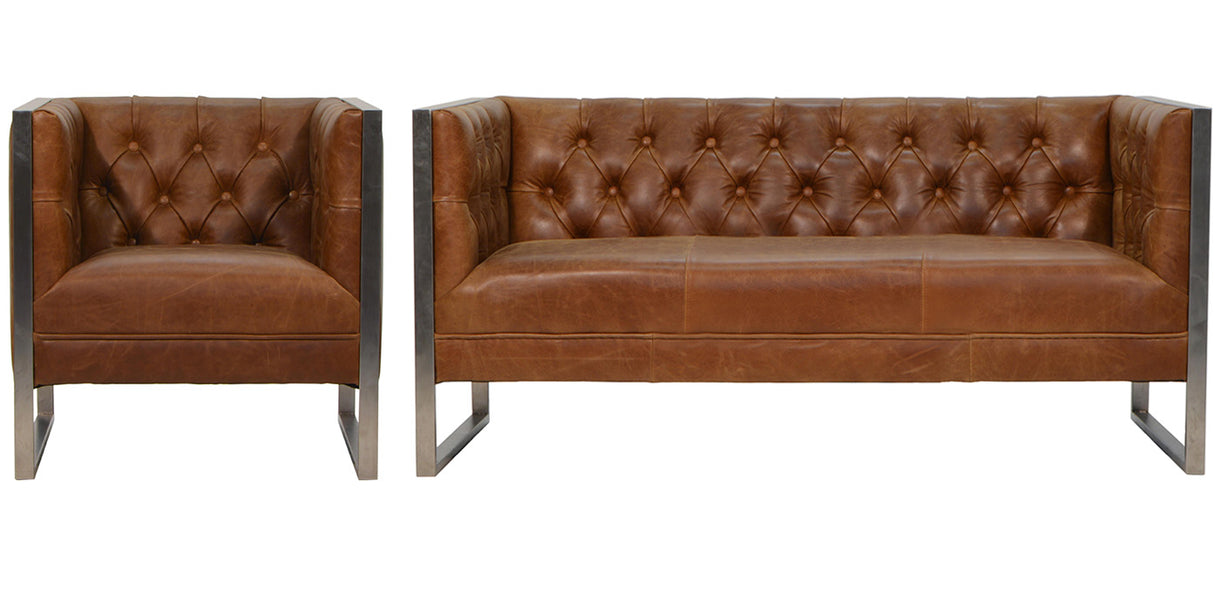 Brown Leather Chester Club Sofa and Armchair with Steel Frame