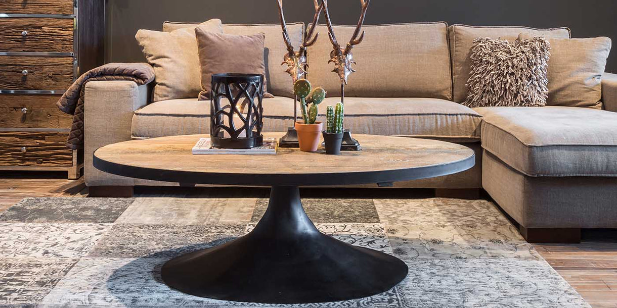 Oxford Oak Industrial Oval Coffee Table lifestyle