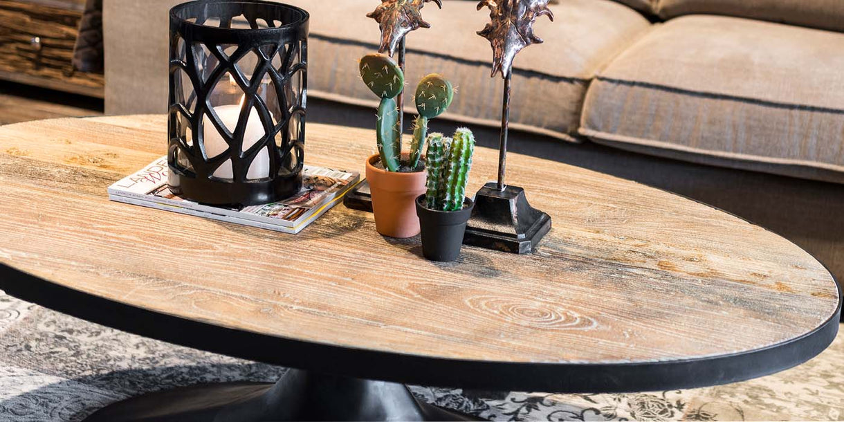 Oxford Oak Industrial Oval Coffee Table Top