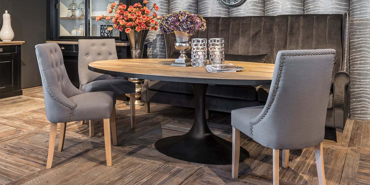 Oxford Industrial Oval Reclaimed Wood Dining Table