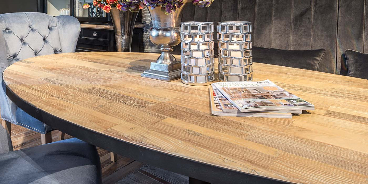 Oxford Oak Industrial Oval Dining Table Top