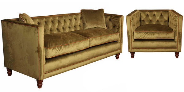 Padstow Armchair and Sofa in Olive Velvet