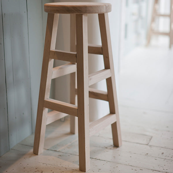 Pair of Raw Light Oak Tall Stool
