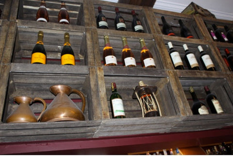 Recycled Wine Crates used at Paris Wine Bar