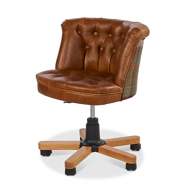 Brown Leather and Wool Desk Chair on Wheels