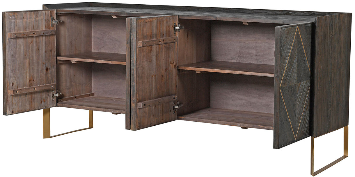 Large Elm Sideboard Open