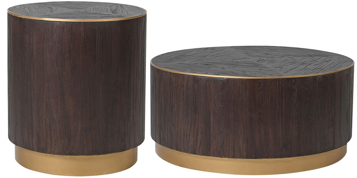 Pimlico Round Elm Coffee Table and Round Side Table