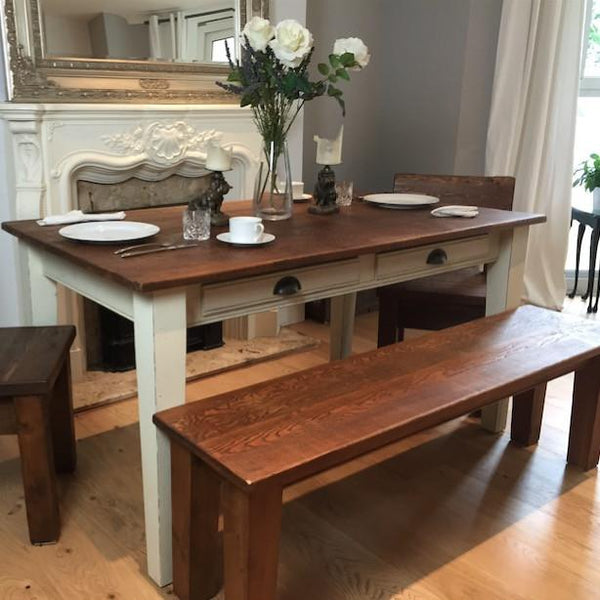 Provence Painted Reclaimed Wood Extendable Dining Table and Bench