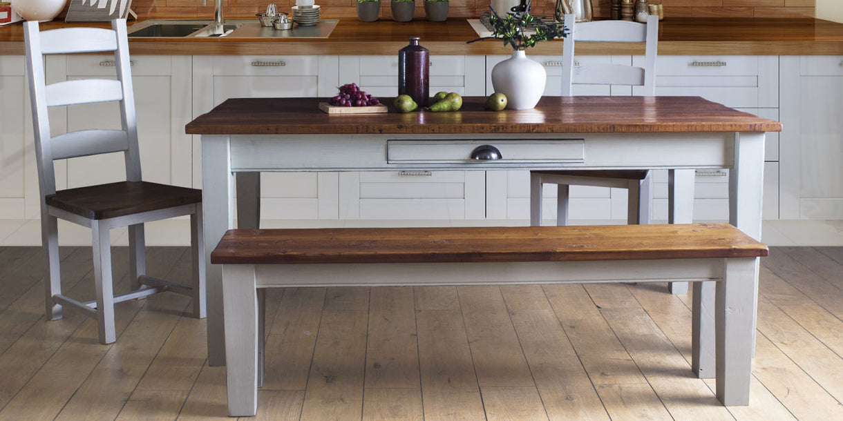 Provence Painted Reclaimed Wood Extendable Dining Table in Kitchen