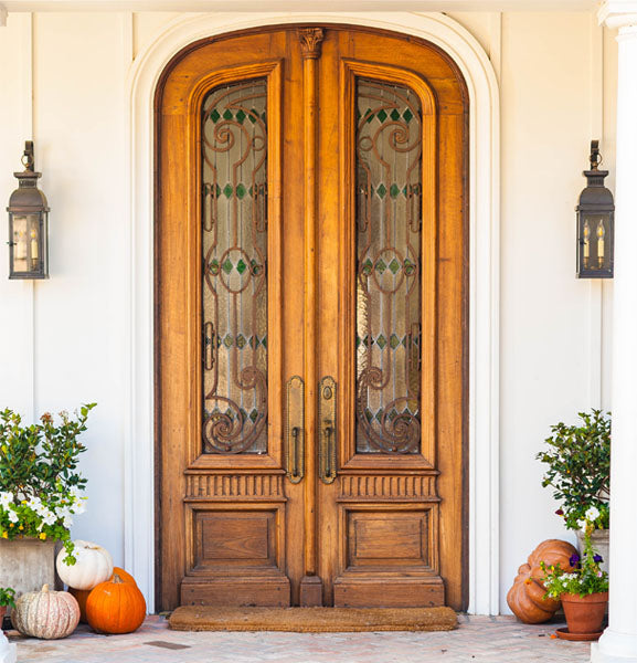 Pumpkins by Wooden Door
