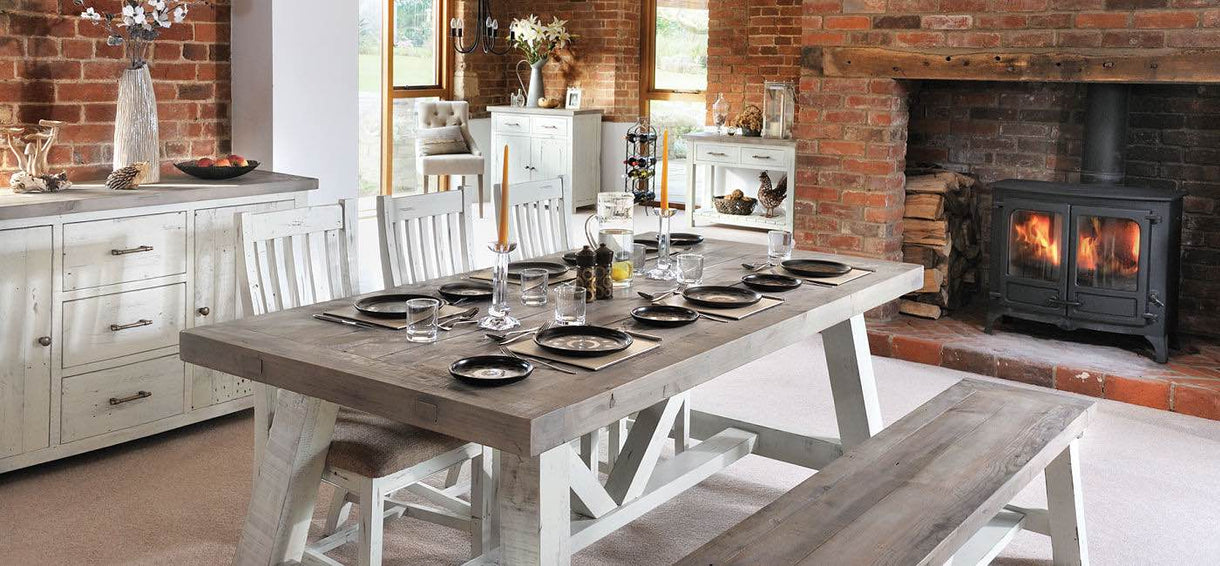 Dorset Dining Table Reclaimed Wood in Dining Room